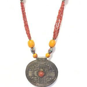 "Tribal Beaded 32"" Long Multi-Strand Necklace India"